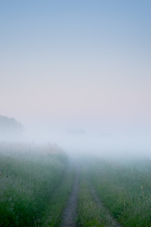 Path in the wilderness leads into heavy morning fog at dawn. Stock Photo