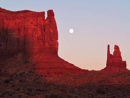 sunset,full moon,monument valley,utah,usa
