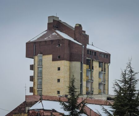 Vukovar, Croatia 1/30/2019: Hotel Dunav in winter time covered with snow Editorial