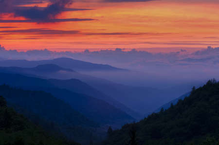 smoky: Beautiful hazy sunrise in the Great Smoky Mountains