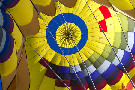adventure aeronautical: View of the interior of a colorful hot air balloon as seen from the passenger