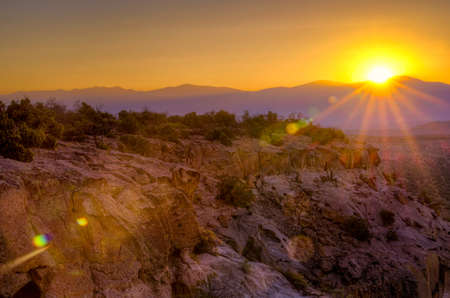 Golden sunrise over Bandelier National Monument