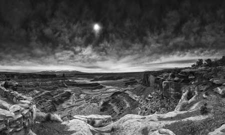 canyonland: Panoramic early morning view of Dead Horse Point canyon on a cloudy day Stock Photo