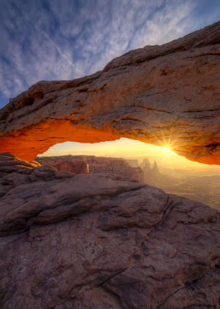rock arch: Vertical view of the magnificent focal point of Arches National Park, Utah