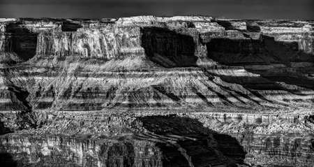 canyonland: Monochrome view of the striking sandstone formations in Dead Horse Canyon, Utah
