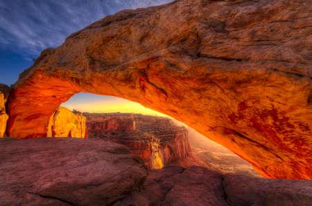 rock arch: Iconic arching rock formation at dawn near Moab, Utah Stock Photo