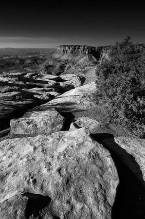 canyonland: Monochrome view of Grandview Point in Canyonlands National park, Utah