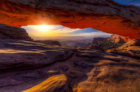 Iconic arching rock formation at dawn near Moab, Utah Stock Photo