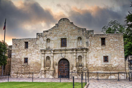 Exterior view of the historic Alamo shortly after sunrise Stock Photo