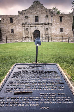 Engraving of Col Travis Victory or Death letter in front of the Alamo photo