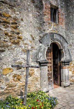 antonio: Entrance to the chapel of the historical San Antonio Mission Stock Photo