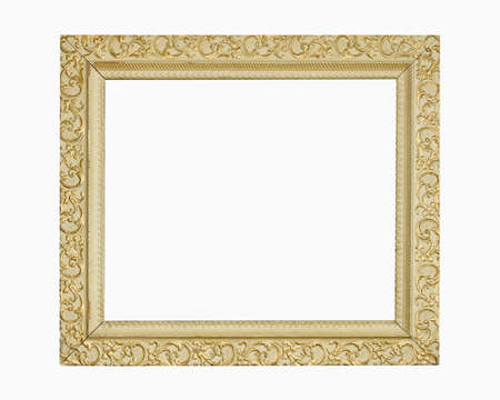 blank center: Weathered gold colored home picture frame with blank center (copy space)