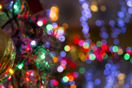Multicolored blurred lights in a festive restaurant