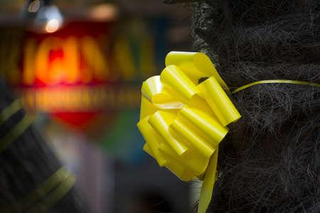 homecoming: Yellow ribbon tied around a tree along the Riverwalk in San Antonio, TX