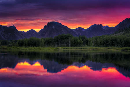 oxbow: Colorful sunset on the Oxbow Bend of the Snake River in Wyoming
