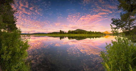 oxbow: The Oxbow Bend of the Snake River in Wyoming at sunrise Stock Photo