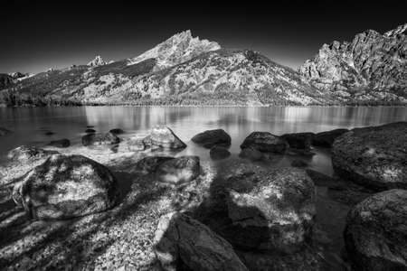 Calm summer afternoon on Jenny Lake in Grand Teton National Park, WY