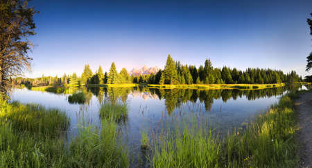 sequester: Early morning panoramic view of the Snake River and Tetons  in Wyoming
