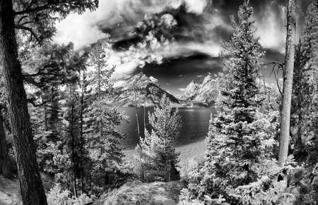 jenny: Monochrome image of Jenny Lake in Grand Teton National Park, WY Stock Photo