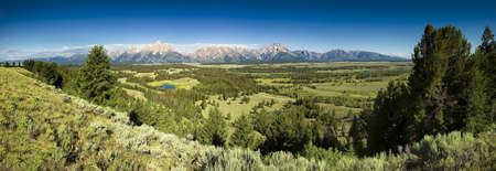 wyoming: Panoramic morning view from Hedrick Pond Overlook in Grand Teton National Park, WY