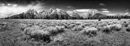 wyoming: Late summer morning panorama of the Teton peaks in Wyoming Stock Photo