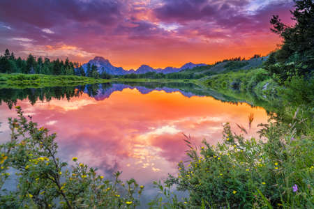 Colorful sunset on the Oxbow Bend of the Snake River in Wyoming