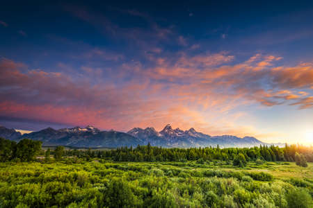 Colorful sunrise at Blacktail Ponds Overlook in the Tetons