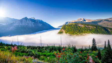 late summer: Late summer fog-filled mountain valley shortly after dawn in Glacier National Park, Montana Stock Photo