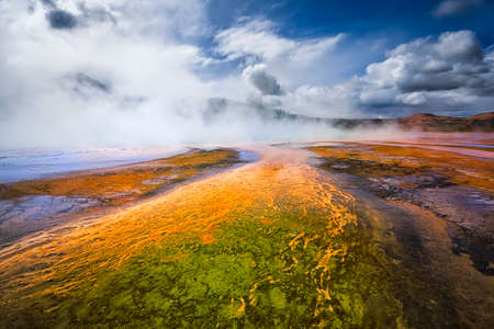 basin mountain: Bacterial growth in the soil of Yellowstone Stock Photo