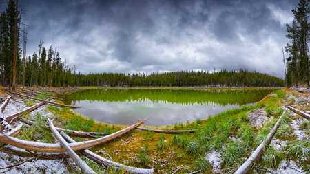 scaup: Scaup Lake panorama on a gloomy, snowy September day in Yellowstone National Park, WY Stock Photo