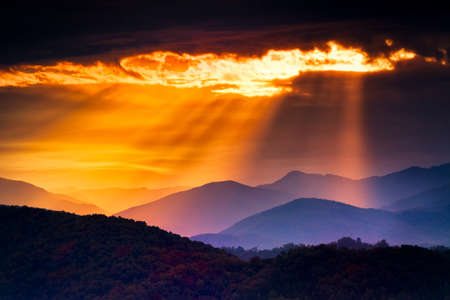 Colorful autumn sunrise over the Smoky Mountains photo