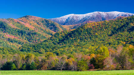 great smokies: Autumn color and snow-capped peaks on display in Cades Cove