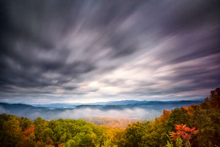 great smoky national park: Fall colors and misty hills on display in Great Smoky Mountains National Park
