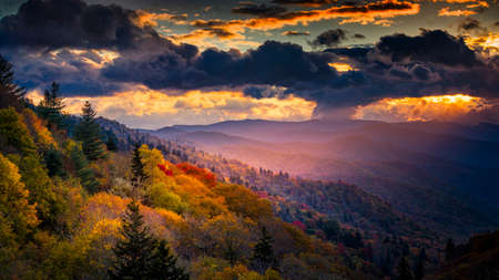 A single shaft of golden dawn sunlight illuminates autumnal ridges and valleys in Great Smoky Mountains National Park