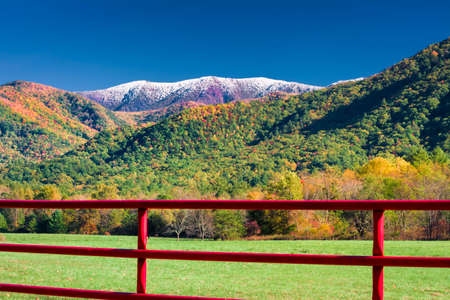 Red fence enclosing a quiet pasture in Cades Cove, TN photo