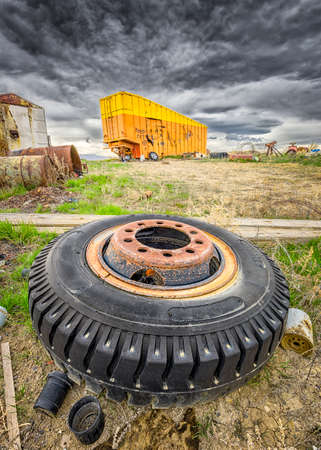 keep out: Abandoned ghost town featuring junk piles and keep out signs