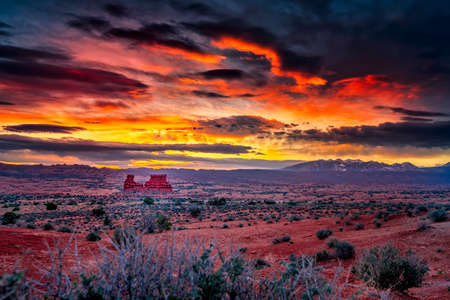 Colorful spring sunrise in Arches National Park, Utah Stock Photo