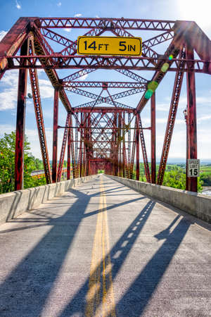 An old truss bridge spanning the Missouri River