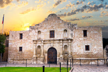 historic: Exterior view of the historic Alamo shortly after sunrise Stock Photo