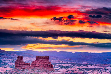 Colorful spring sunrise in Arches National Park, Utah Stock fotó