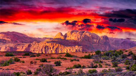 rock arch: Colorful spring sunrise in Arches National Park, Utah Stock Photo