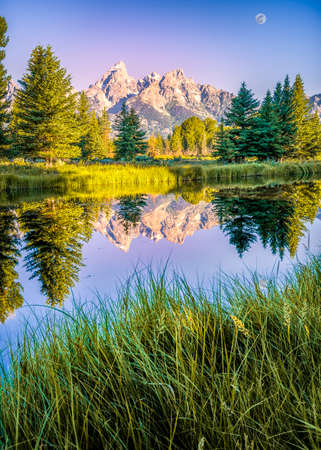 The Teton ranges reflection upon the Snake River after dawn at Schwabacher Landing in Grand Teton National Park, WY photo