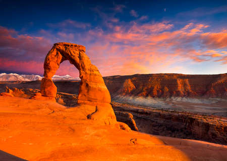 rock arch: Delicate Arch, Late Afternoon View, Arches National Park, Utah