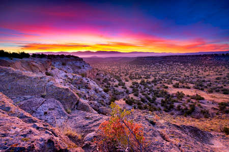 scenic landscapes: Golden sunrise over Bandelier National Monument, NM