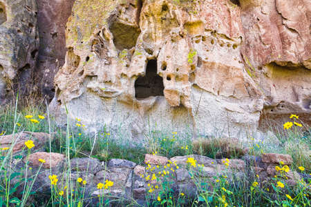 nm: Ancient cave dwellings in Bandelier National Monument, NM
