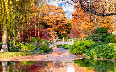 ponte giapponese: Arco ponte di legno accentate da Fall Colors Texas