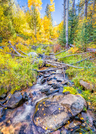 Silky flowing stream surrounded by fall foliage near Santa Fe, NM