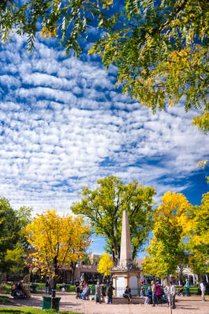 Beautiful fall colors on display in the downtown Santa Fe, NM Plaza Stock Photo