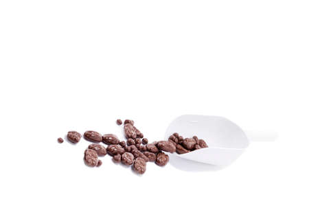 pecans: Chocolate covered pecans on a white background