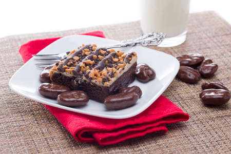 pecans: Chocolate covered pecans and chocolate peanut butter brownie served with milk